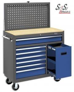 Banco movil con panel de herramientas para taller mecanico - Carro herramientas taller ...