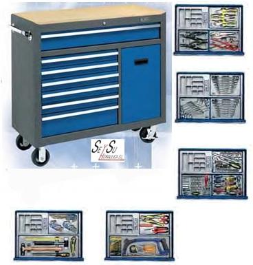 Banco movil de herramientas para taller mecanico con 196 for Cajon herramientas taller